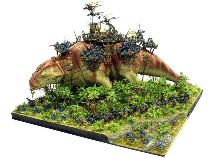 """Warhammer Lizardmen Thunder Lizard"" - Incredible Fantasy Diorama"