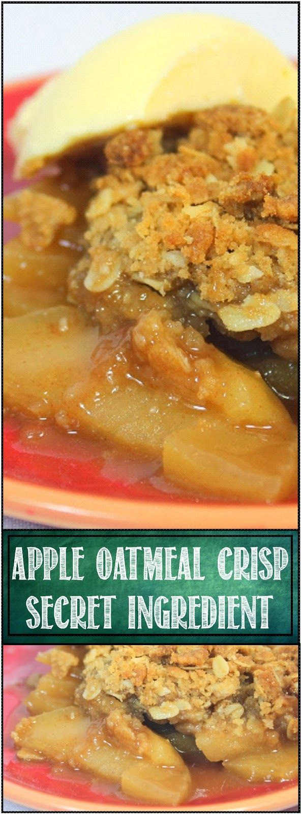 ECRET INGREDIENT Apple Oatmeal Crisp Secret ingredients... little extras that add an additional layer of flavor to a dish. This is a basic apple crisp recipe. Add some oatmeal and you have a pretty good Apple Crisp... Add a secret ingredient and the dish snaps with crowd pleasing flavor!