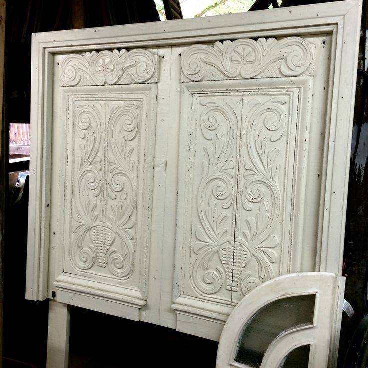 Queen headboard designed from gorgeous c. 1880 French carved doors.