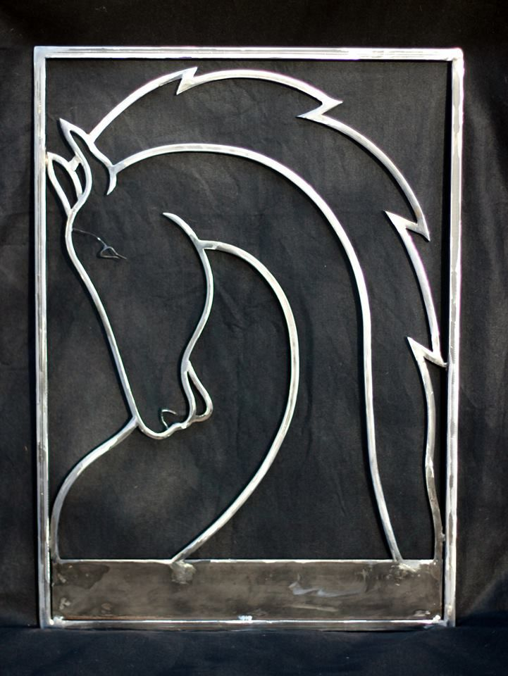 """Custom Horse Maquette for Equestrian Sign W27""""x H38"""", 1/2"""" Steel Rod,Hand Forged and Bent"""