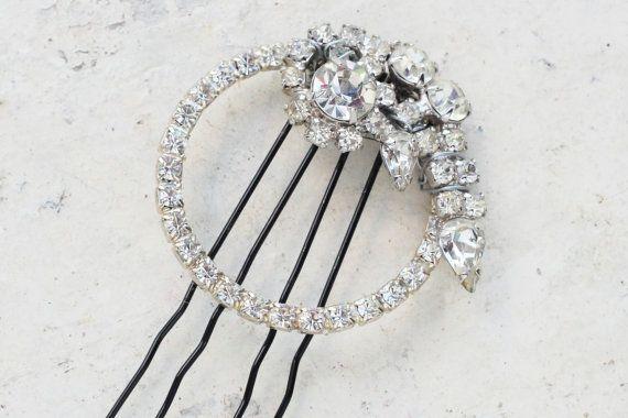 Art Deco Comb, Crystal Wedding Comb, Hair Accessory, Vintage Wedding Headpiece, Great Gatsby, Hair PIece, Wedding Hair Brooch, Rhinestone