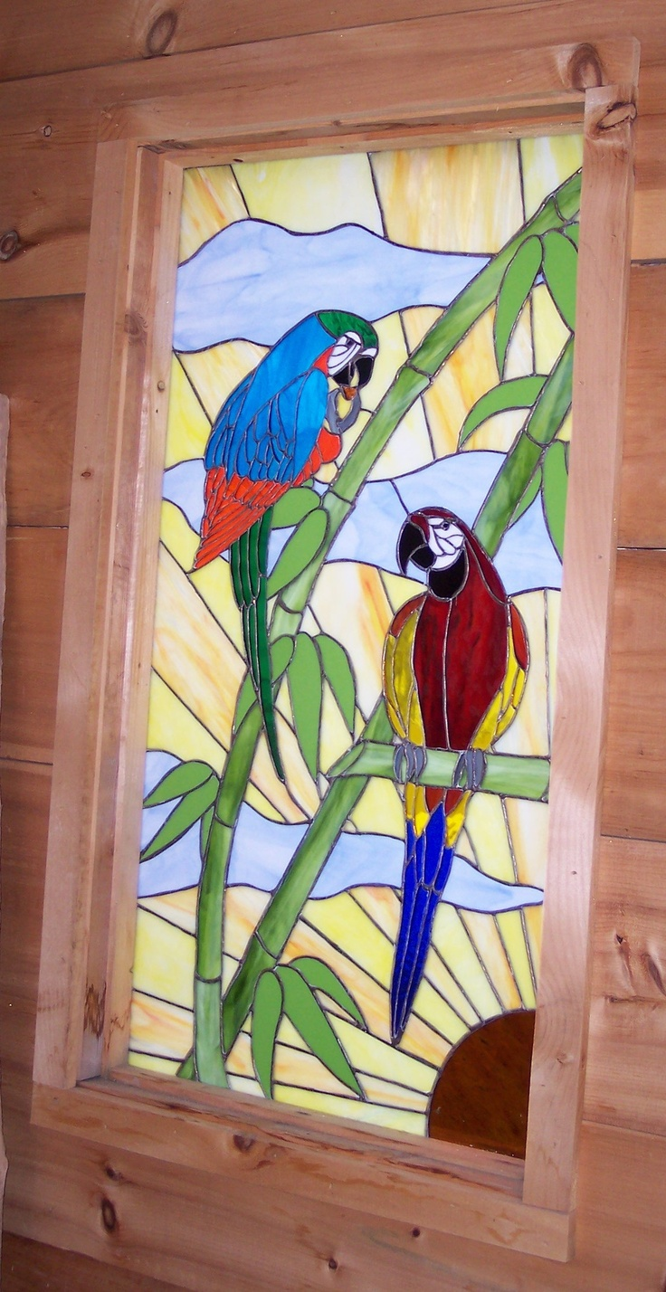 Stained glass parrots!