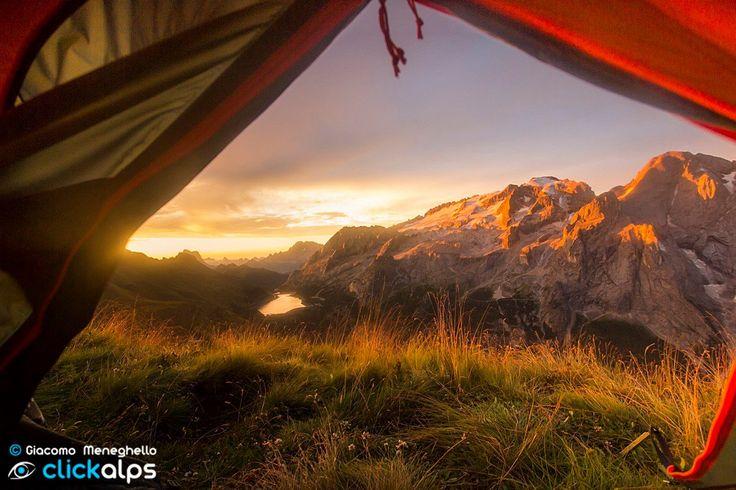 Sometimes, dreams, begin when you open your eyes. Ph. Giacomo Meneghello - clickalps #Marmolada #Dolomiti #Dolomites #Dolomiten #Dolomitas #Italy #DolomitiHeart #Clickalps #Sunrise #Lake #Wild #Outdoor #Openair #holiday #Tent