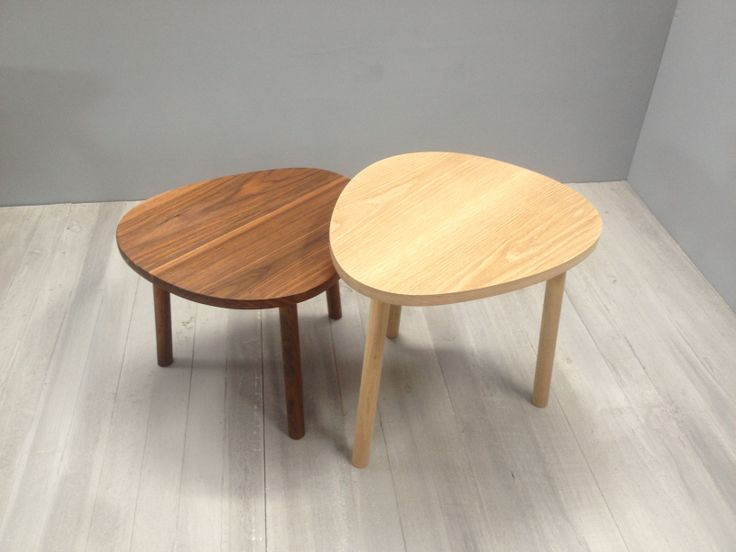 pebble side table in american oak/walnut, @chriscolwelldesign