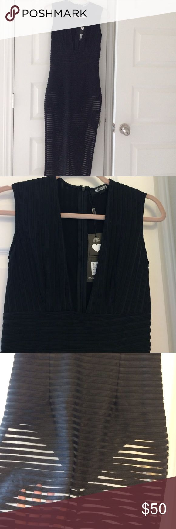 Black, midi Missguided dress Sexy midi dress by missguided. Achieve a Kim K look with this show stopping dress. Size 6 US. see through bottom. Bodysuit attached. Missguided Dresses Midi