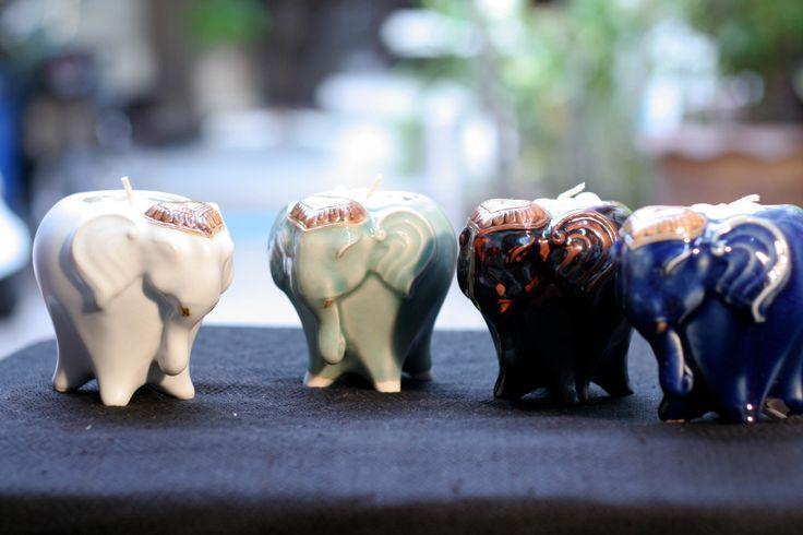 Ceramic elephants glowing with life! www.familytree-huahin.com