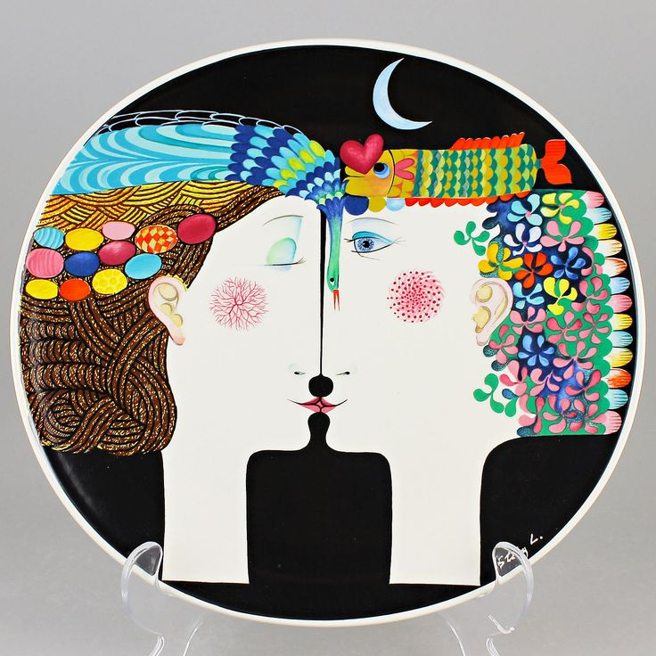 Stig Lindberg (1980) Amazing Wall Plaque Moonlight