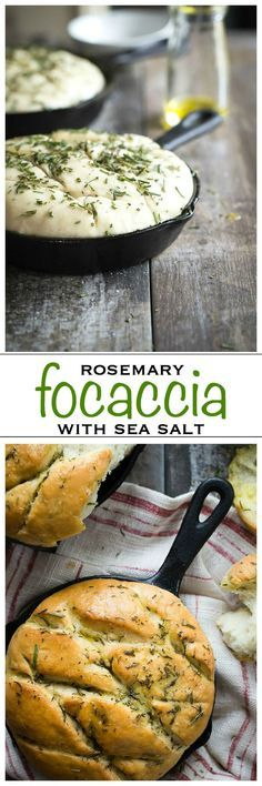 Soft and chewy focaccia bread with rosemary and sea salt