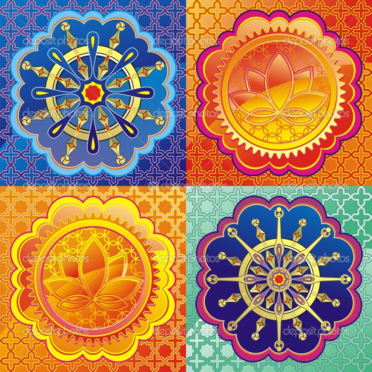 wheel of dharma pictures | Set of lotus and Dharmacakra - dharma wheel — Stock Vector © Evgeny ...