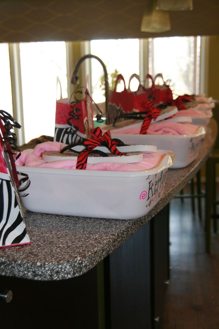 Spa Party- Party Favors $1 store-tub, hand towels, large towel, nail file, nail polish, polish remover, flip flops Robe,