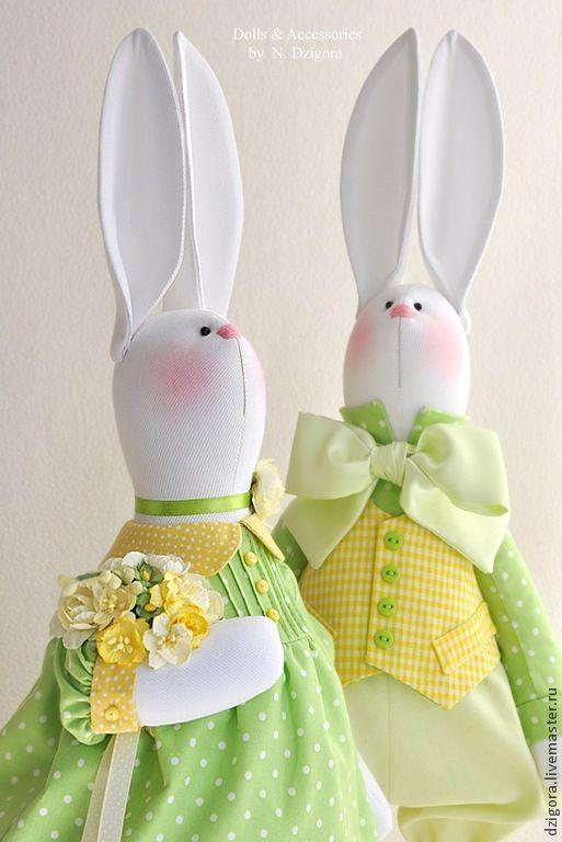 Купить Весенняя мелодия. Парочка белых кроликов, пасхальные кролики - кролики, зайцы, игрушка заяц