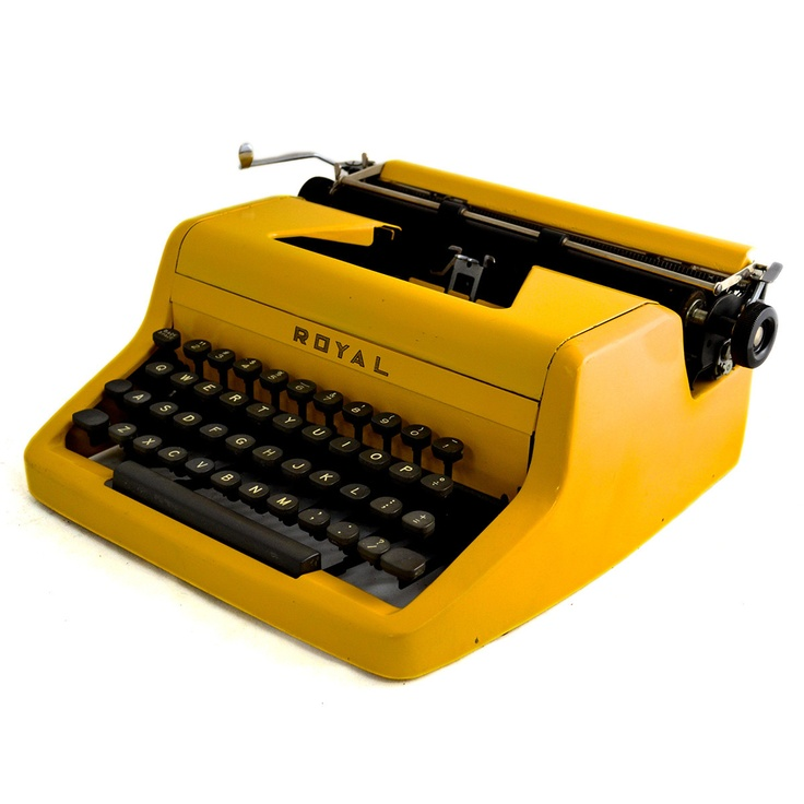 Vintage Custom 48 Royal Quiet Deluxe black and yellow typewriter