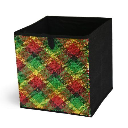 Mainstays Reversible Sequin Collapsible Storage Cube Plaid Red Green Gold(10.5 x 10.5), 1 piece