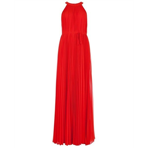 Pleated maxi dress HAYLEA ($275) ❤ liked on Polyvore featuring dresses, pleated dress, maxi length dresses, ted baker dresses, maxi dresses and red dresses