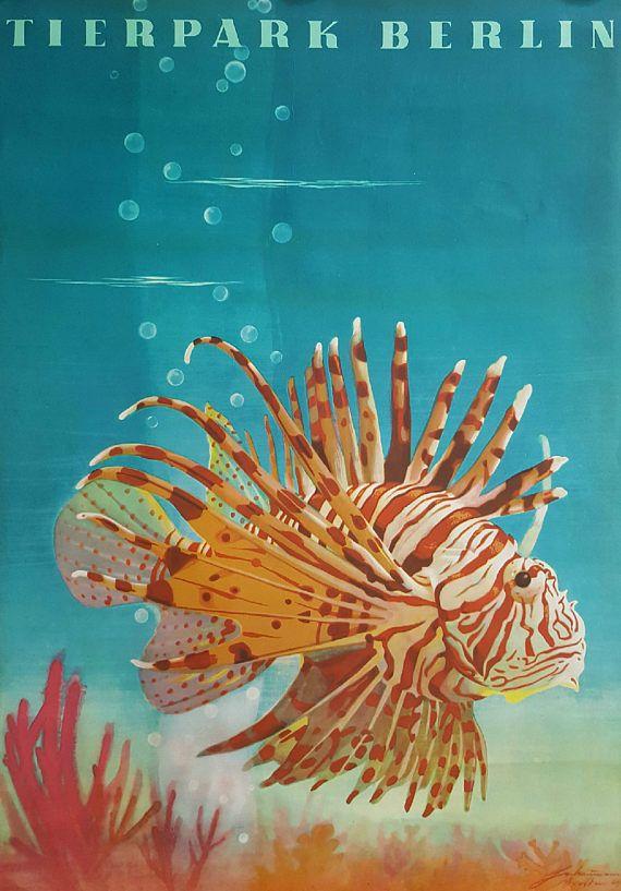 1964 Tierpark Berlin Lionfish  Original Vintage Poster