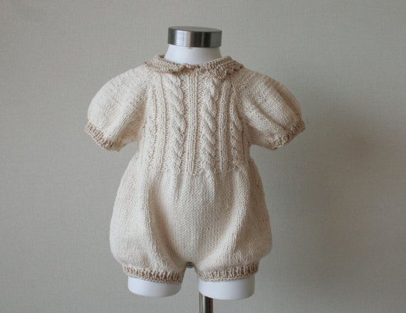 Baby girl Hand knitted cotton romper cream with by CasitadeLana