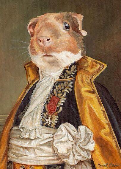 Portrait Of Lincoln The Guinea Pig ~ Artist: Carol Lew~(8 x10 Print) ~Old World Pet Portraits