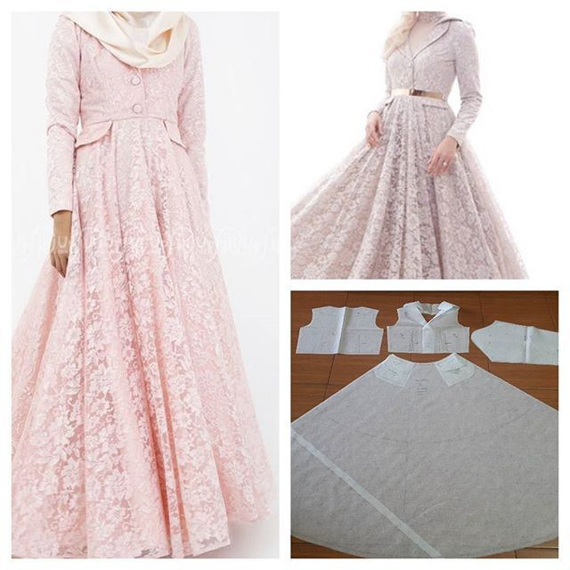 Long dress pattern in lace.