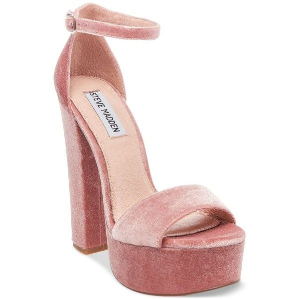 Steve Madden Women's Gonzo-v Two-Piece Platform Sandals ($99) ❤ liked on Polyvore featuring shoes, sandals, blush velvet, block heel platform sandals, platform sandals, party sandals, vintage platform shoes and vintage shoes