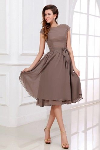 Chiffon Bateau Mother of Bride Dress with Short Sleeves | LynnBridal.com