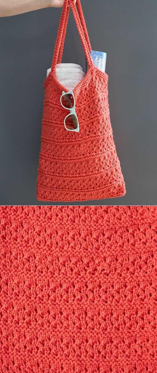 Free Knitting Pattern For A Breezy Knit Market Bag Knits Free