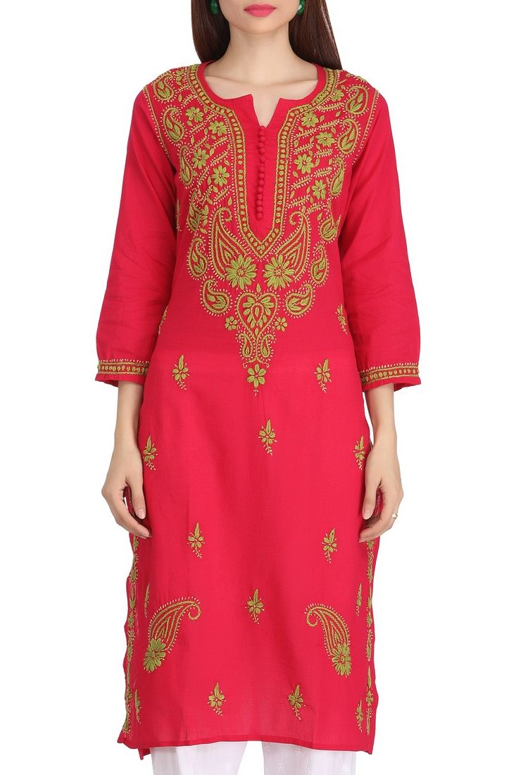Gorgeous Fuchsia Pink Women/'s Lucknow Chikan Art Work Embroidered Rayon Palazzo