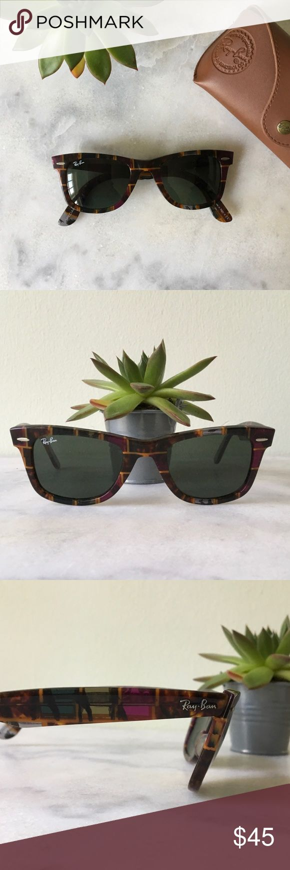 Ray ban Sunglasses / Wayfarer Ray ban sunglasses / special series #7 / great condition / includes case / fun pattern / NOTE: tiny scratch that is not noticeable on right lense, see last picture Ray-Ban Accessories Glasses