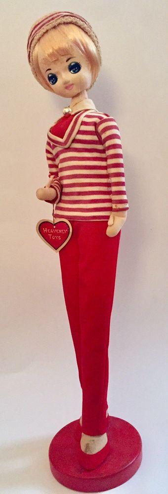 Vintage Mod Big Eye Doll Japan Heavenly Toys Mahana Import Stockinette  | eBay
