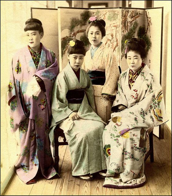Women were sold to the brothels at age 5 or 6.  They were at first child labor doing cleaning.  They were gradually taught what they had to do, and generally started taking customers at puberty.  Photo: Kanagawa Branch by Okinawa Soba, via Flickr.   Circa 1895.