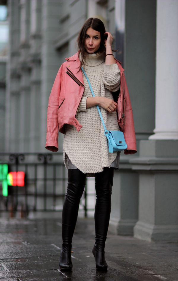 A PORTABLE PACKAGE   I am wearing vintage jacket, Hope Grand sweater, Tosca blu purse, Fillipa K skirt and Stella Mccartney  boots