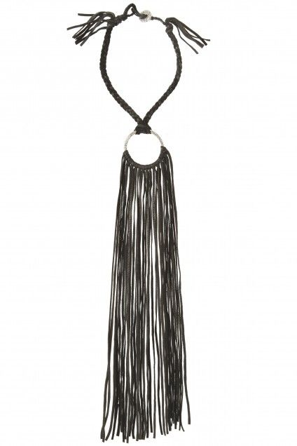 Circle Leather Fringe Necklace | Calypso St. Barth