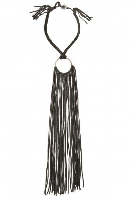 Circle Leather Fringe Necklace | Calypso St. Barth