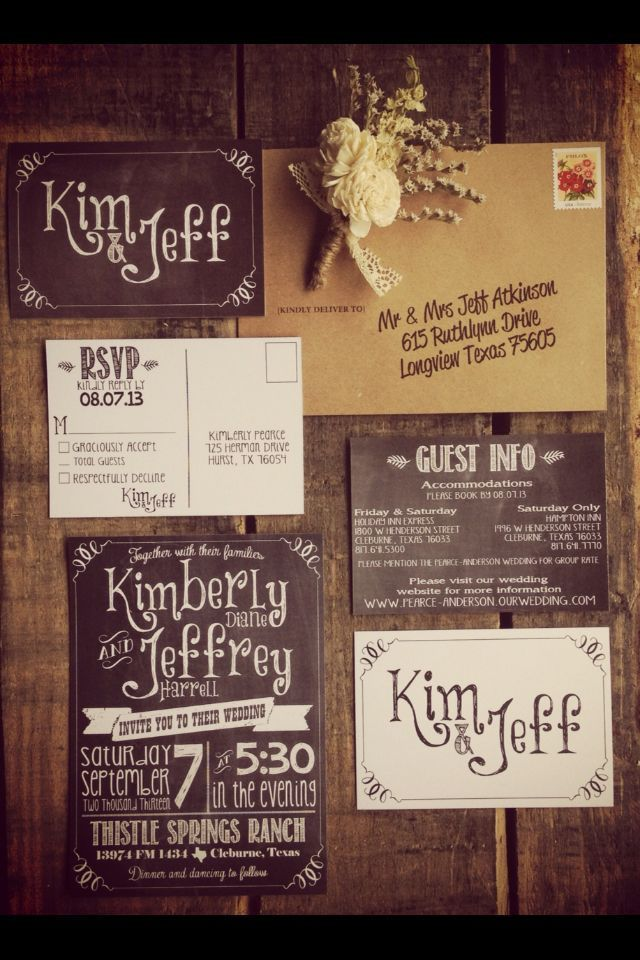 Chalkboard-style wedding invitations. Could be used — Designspiration