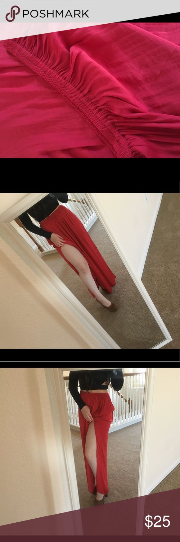 Maxi Red Skirt Silk Material skirt with two slits in each side . XS but can fit as Small Forever 21 Skirts Maxi
