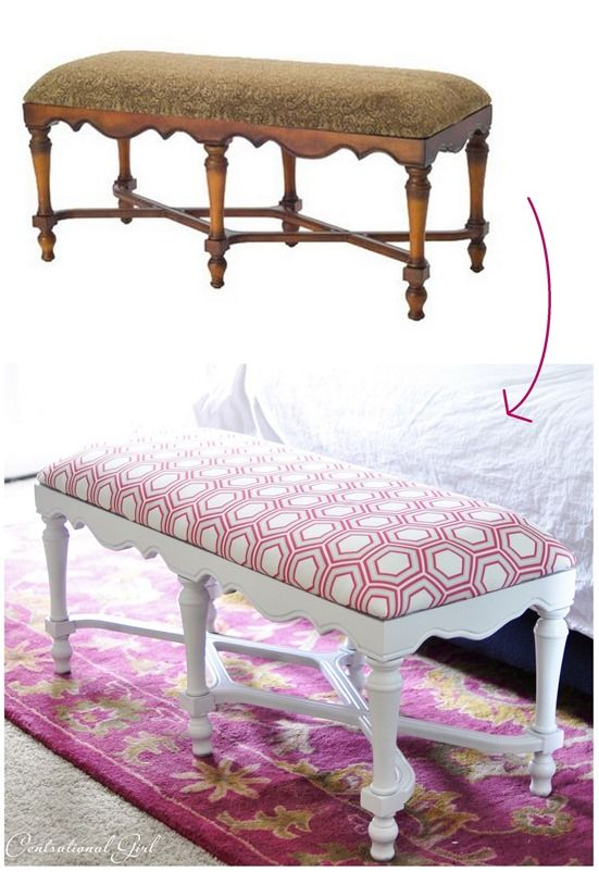 bench before + after: custom raspberry and grey hexagon fabric by Centsational Girl
