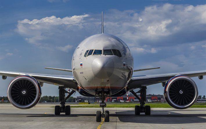 壁紙をダウンロードする ボーイング777, aeroflot, 空港, 旅客機