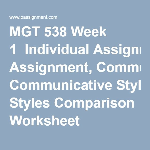 MGT 538 Week 1  Individual Assignment, Communicative Styles Comparison Worksheet