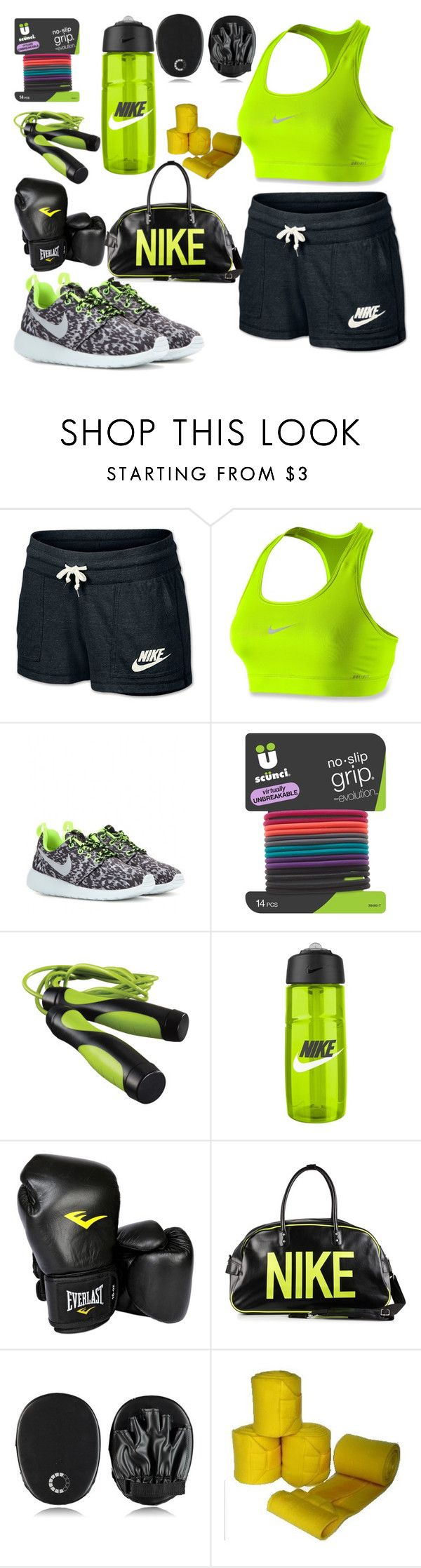 """Boxing outfit"" by fashion-luver-unillama ❤ liked on Polyvore featuring NIKE, scunci, Everlast and Casall"