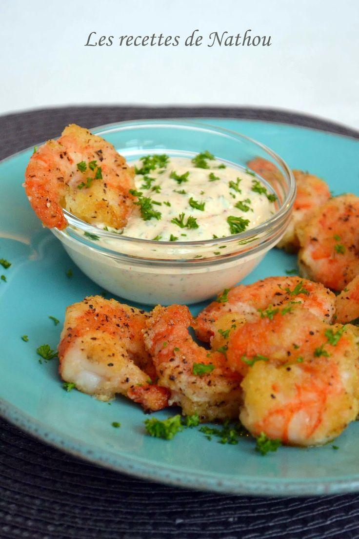 Gambas croustillants, sauce curry et piment d'Espelette : Sauce : 1 yaourt grec…