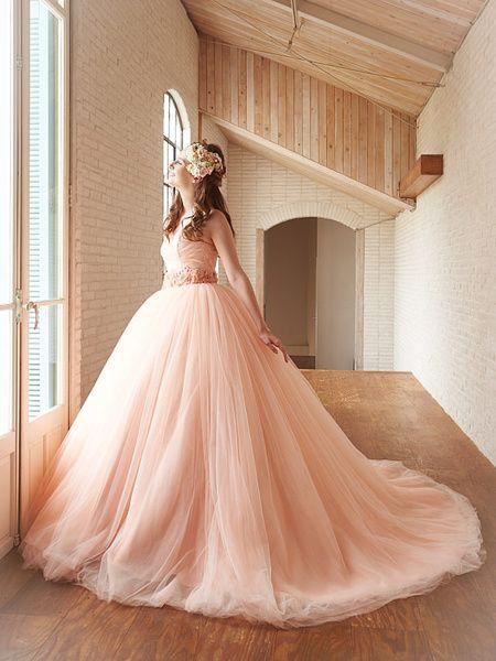 ウエディングドレスショップ シンデレラ(Wedding Dress Shop Cinderella)  アプリコットピンクカラーのチュール カラードレス SS5591AP