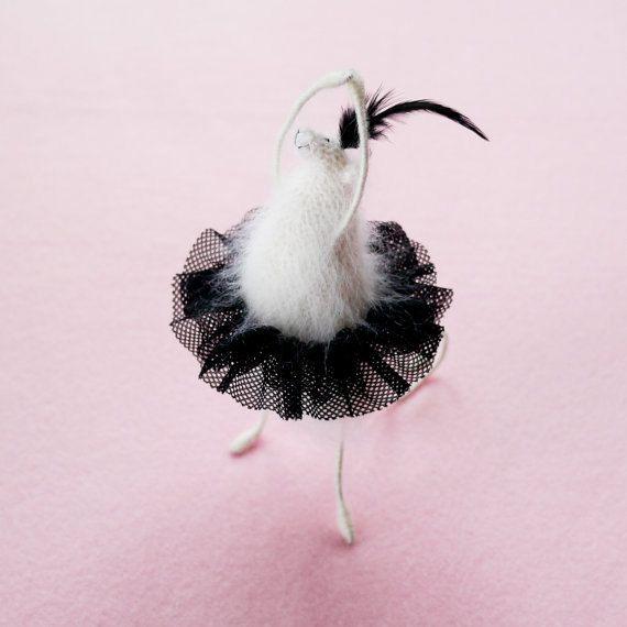 Cygne noir Ballet Rat/souris-Mohair tricoté