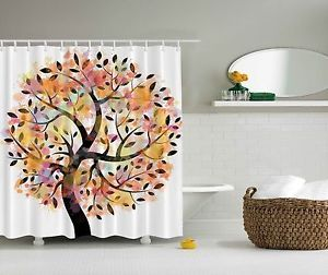 Colorful Spring Tree Leaves of Life Pastoral Branches Extra Long Shower Curtain