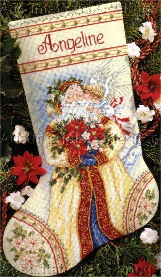 RARE+JUDITH+ANN+GRIFFITH+VICTORIAN+FATHER+CHRISTMAS+BEADED+CROSS+STITCH+STOCKING+KIT+GOLD+COLLECTION