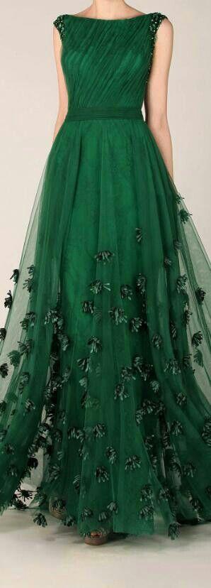 Fav color... Beautiful!! Emerald Chiffon Dress                                                                                                                                                      More