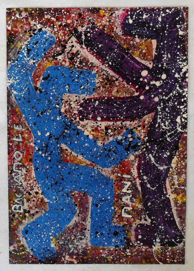 """g.a.zanussi, """"baciamo le mani"""" arte polimaterica quadro 50x34 opera su tela, 2017"""