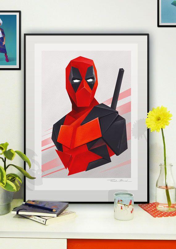 Deadpool - llustration art giclée print signed by the artist. A2 poster. Tomek Biniek. by TomekBiniek on Etsy