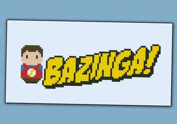 Bazinga The Big Bang Theory parody Cross stitch by cloudsfactory