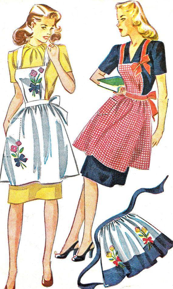 années 1940 tablier modèle simplicité 1162 Womens Full bavoir tablier ou demi motif de couture Vintage Womens hôtesse tablier fleur broderie...                                                                                                                                                                                 Plus