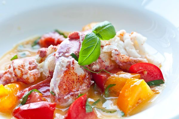 Butter Poached Lobster with Fresh Tomatoes...this would also be a great way to prepare the lobster for butter poached lobster tacos.