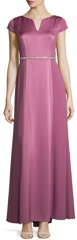 Kay Unger New York Crepe-Back Satin Belted Gown, Magenta